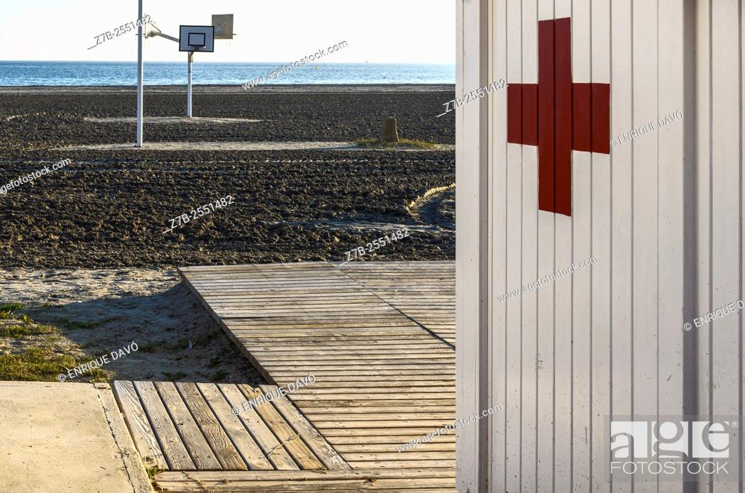 Stock Photo: A white wall first aid in Playa Lisa beach, Alicante province, Spain.