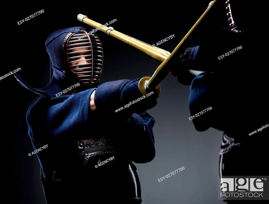 Competition of two kendo fighters  Japanese martial art of sword