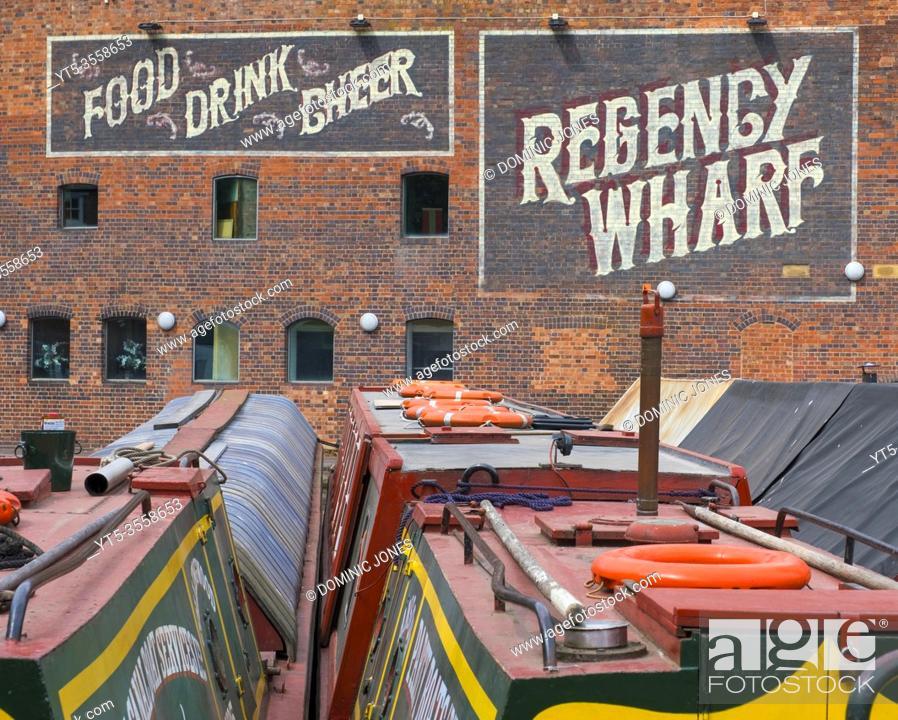 Stock Photo: Narrowboats at Regency Wharf , Broadstreet, Birmingham.