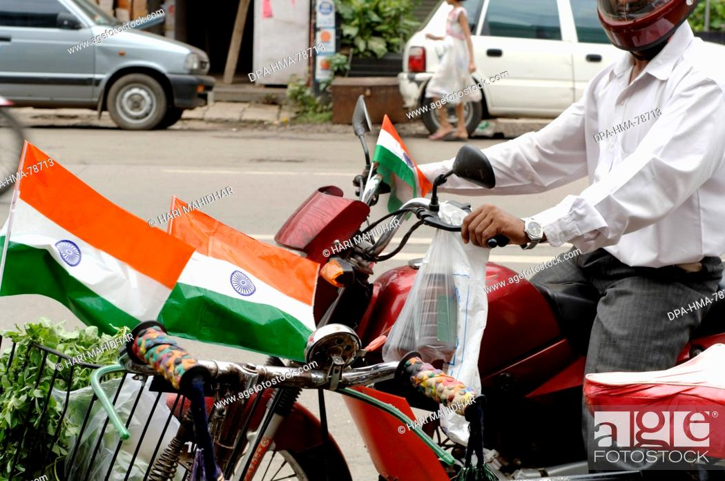 Indian flags on cycle and bike on independence day