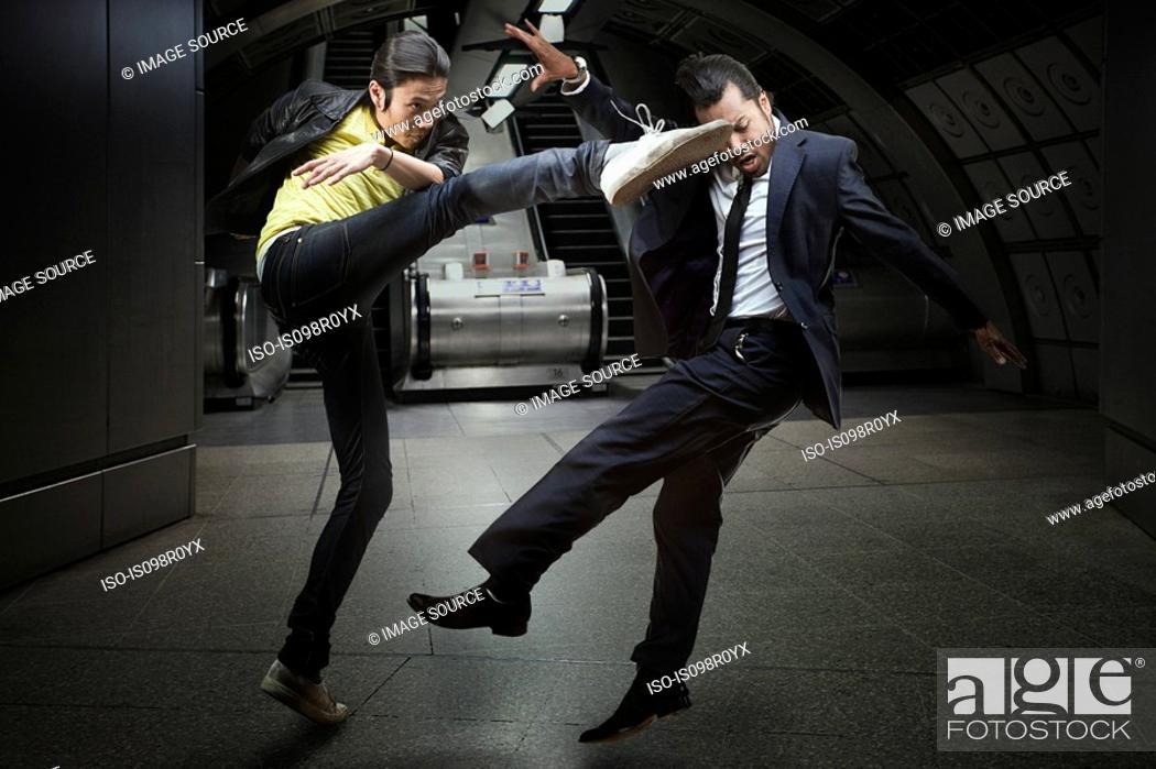 Stock Photo: Two men fighting.