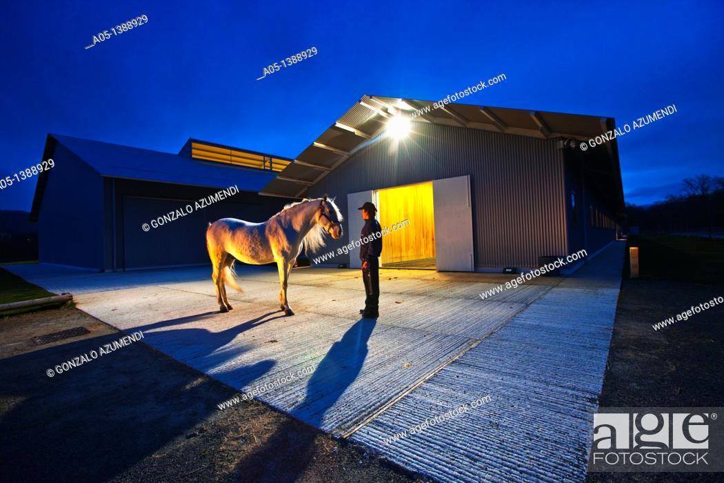 Stock Photo: Equestrian Centre Robledales de Ultzama  Zenotz  Ultzama  Ulzama  Navarra  Spain.