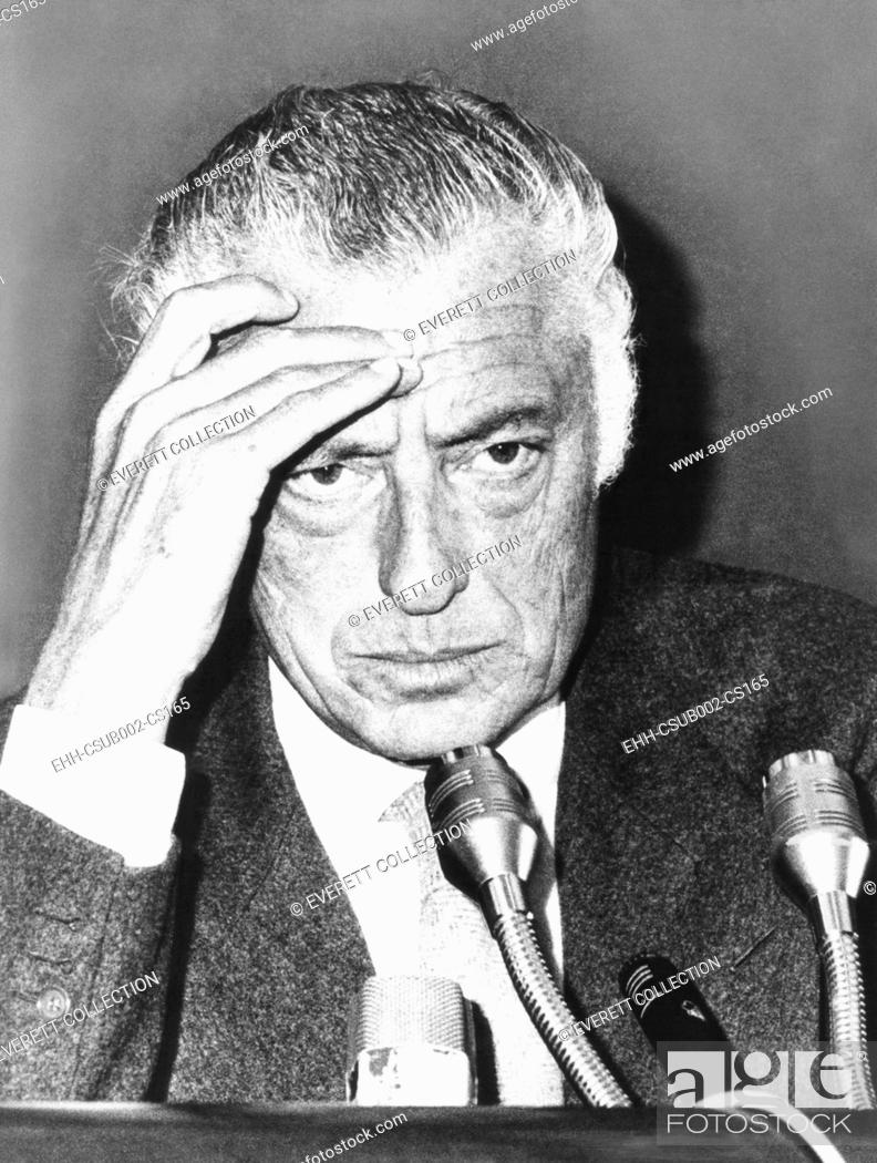Stock Photo: Giovanni Agnelli, President of the Fiat Auto Company, at a Rome press conference, Oct. 14, 1975. Agnelli reported on his recent trip to Beijing, China.
