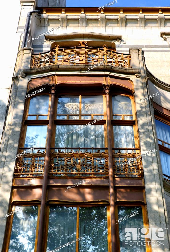 Stock Photo: architectural detail - Art Nouveau Solvay Hotel by Victor Horta, together with three other town houses of Victor Horta, including Horta's own house and atelier.