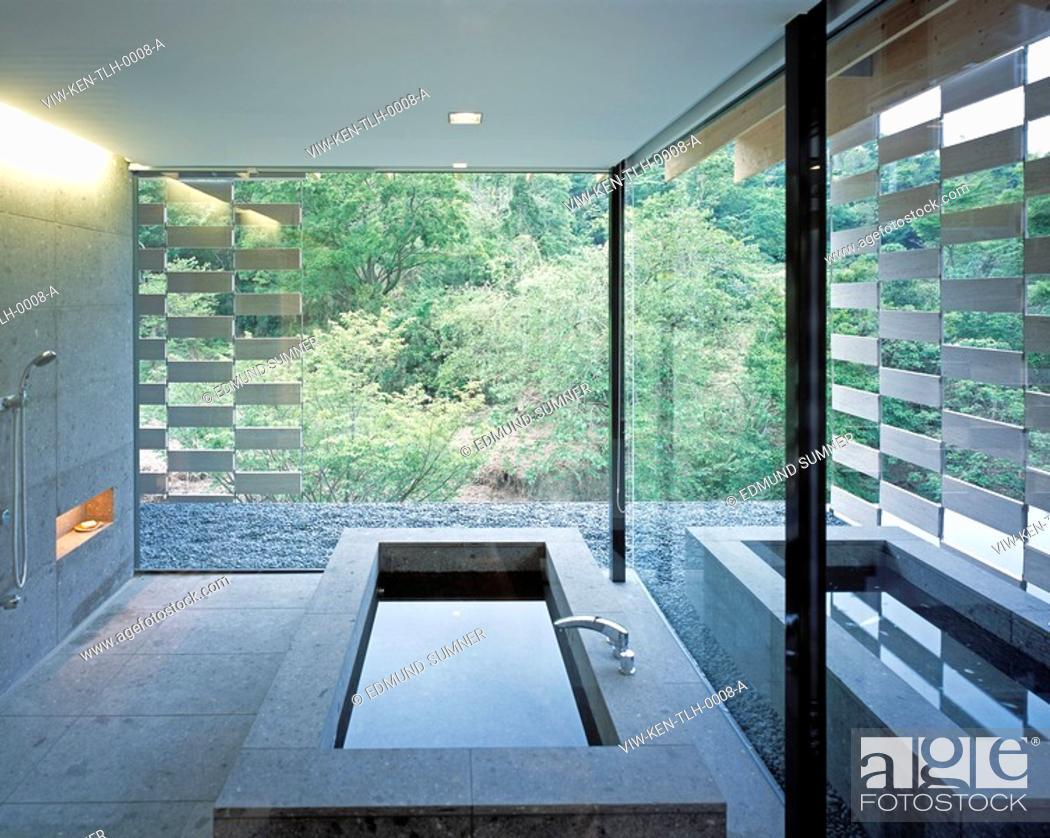 Stock Photo: THE LOTUS HOUSE, JAPAN, KENGO KUMA & ASSOCIATES, INTERIOR, INTERIOR BATH.