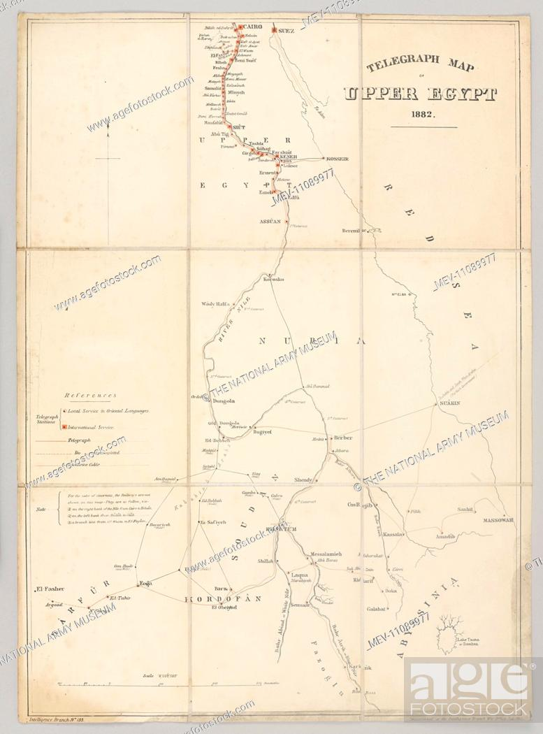 Telegraph Map Of Upper Egypt 1882 Compiled By The Intelligence