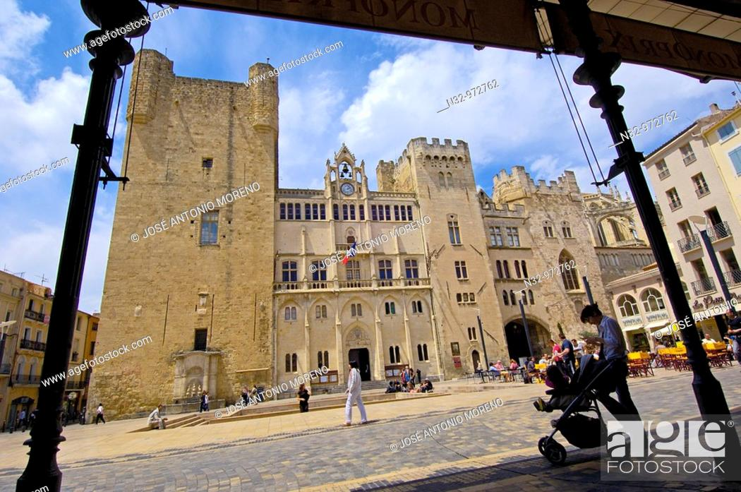 Stock Photo: Archbishop's Palace, Town Hall Square, Narbonne. Aude, Languedoc-Roussillon, France.