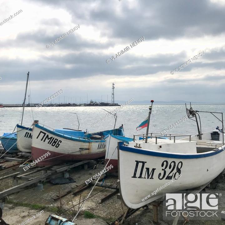 Stock Photo: Fishing Boat At The Harbor. Pomorie, Bulgaria.