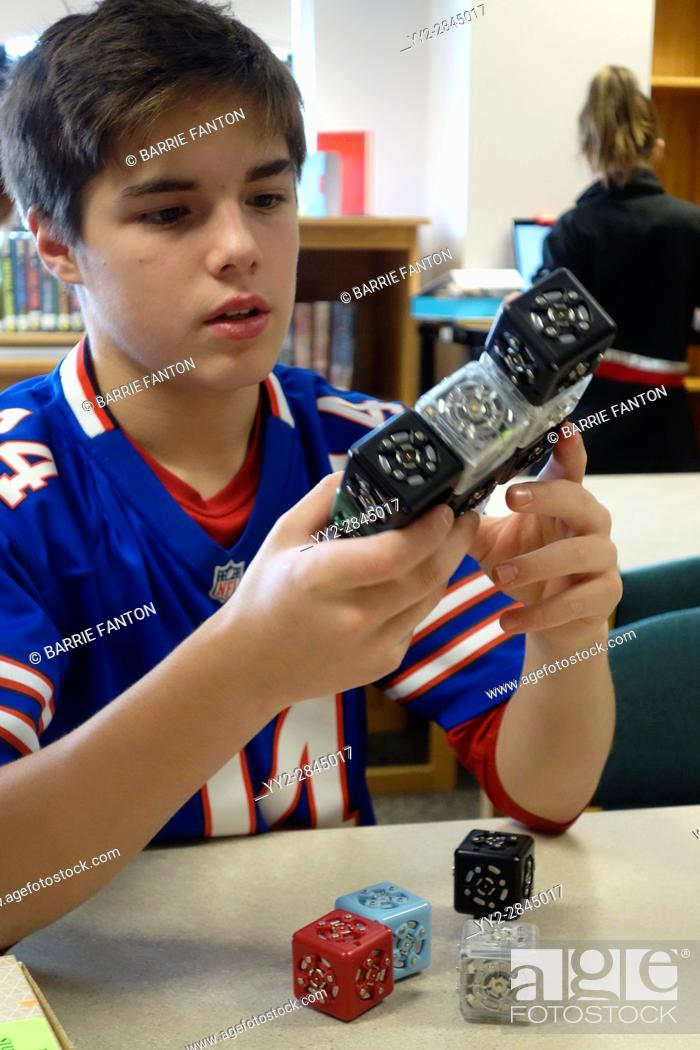 Stock Photo: 7th Grade Boy Working With Robotics, Wellsville, New York, USA.