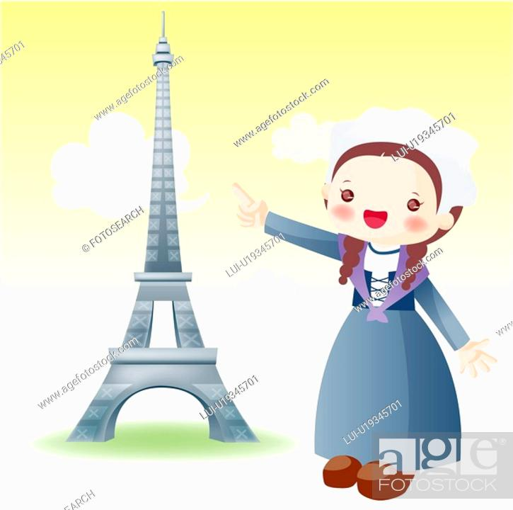 Stock Photo: Europe, map, tourist attractions, sightseeing, national flag, tourism.