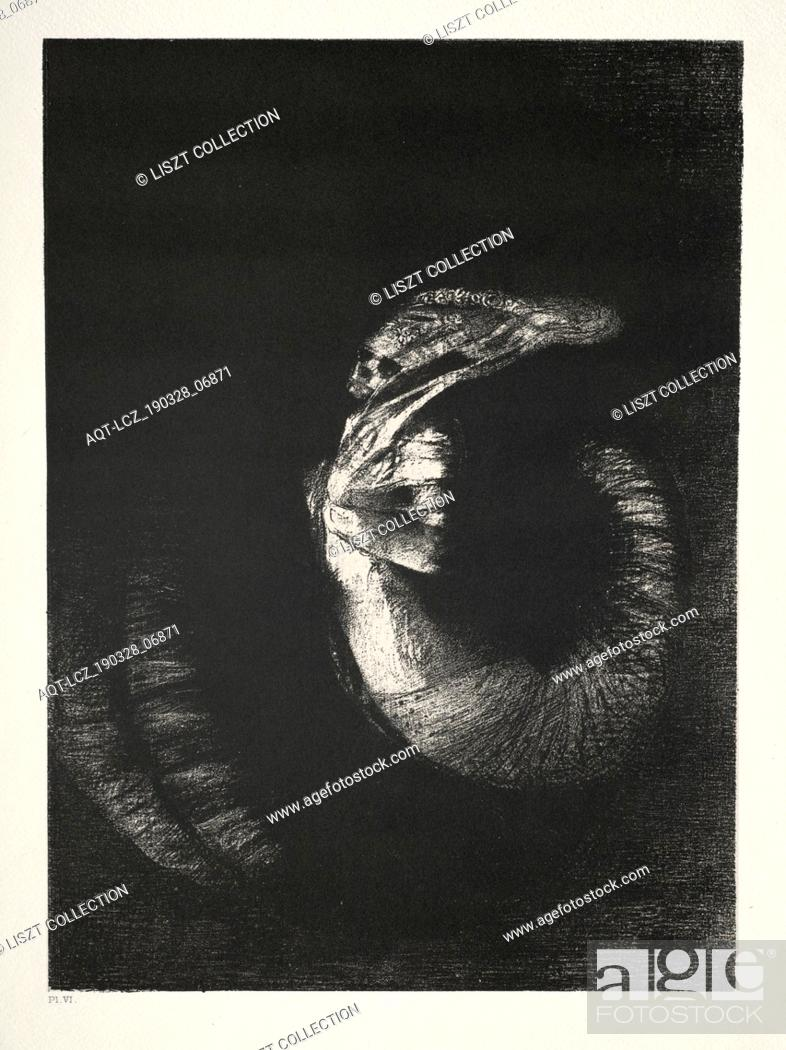Stock Photo: The Temptation of St. Anthony, 1888. Odilon Redon (French, 1840-1916). Lithograph.