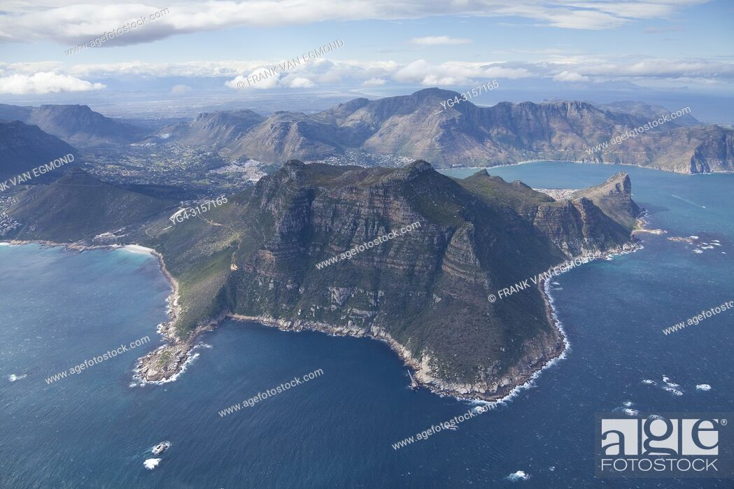 Stock Photo: Areal of Hout Bay, showing Hangberg, The Sentinel, South Africa.
