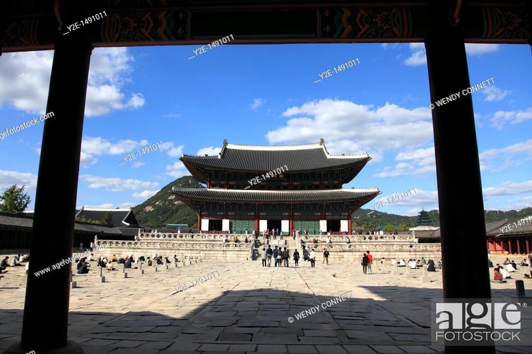 Stock Photo: Geunjeongjeon, main palace pavillion, Gyeongbokgung Palace, Palace of Shining Happiness, Seoul, South Korea, Asia.