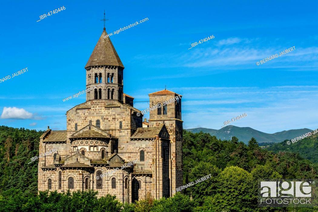 Stock Photo: Romanesque church of Saint Nectaire, Auvergne Volcanoes Regional Nature Park, Puy de Dome department, Auvergne Rhone Alpes, France.