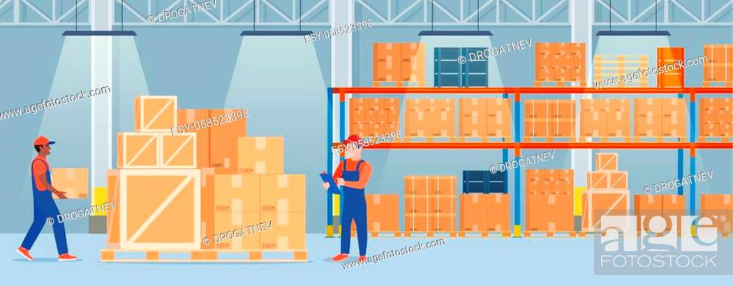 Stock Vector: Warehouse interior with cardboard boxes on metal racks and working people.. Warehouse interior with goods, pallet trucks and container package boxes.