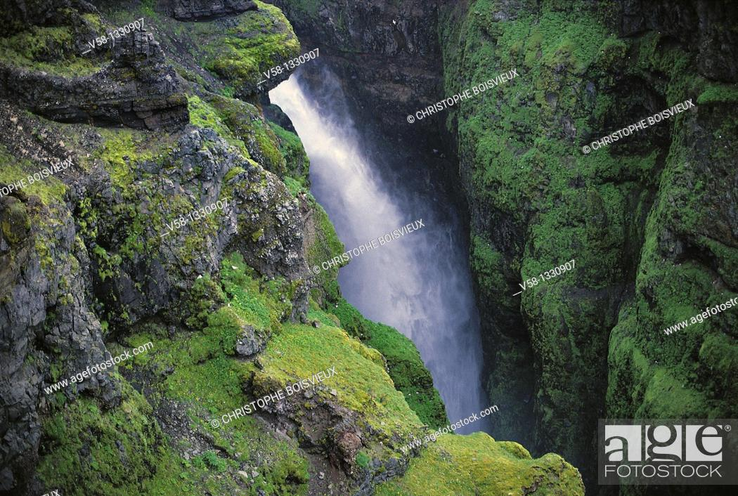 Stock Photo: Glymur canyon and waterfall, Iceland.