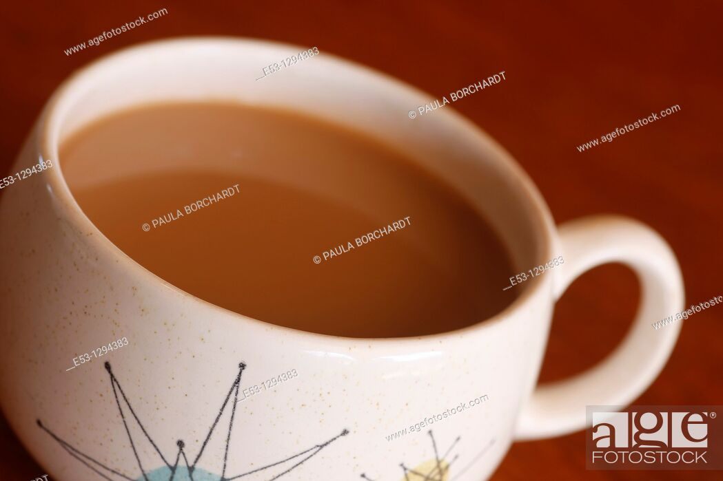 Stock Photo: Franciscan vintage 1950s 'Starburst' pattern coffee cup and saucer.