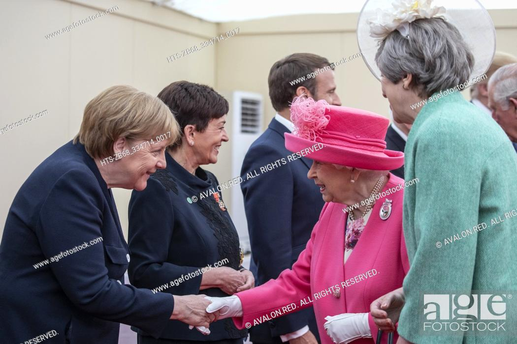 Imagen: World leaders meet for the 75th anniversary of D-Day event in Southsea Portsmouth. The Queen and UK Prime Minister meet the German Chancellor Angel Merkel.