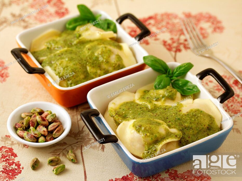 Stock Photo: Aubergines ravioli with pistachio pesto.