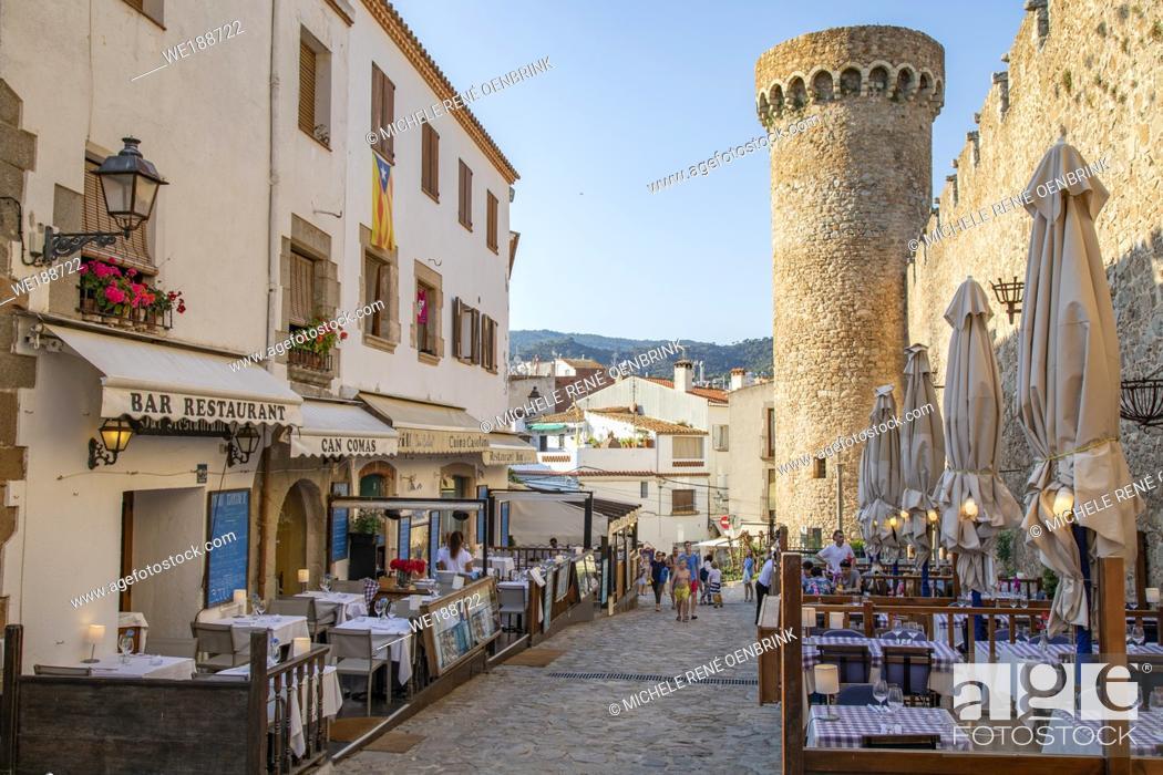 Stock Photo: Spain, Europe, Catalonia, Costa Brava Coast, Tossa de Mar, town, Tossa castle, sunset, beach, blue, castle, coast, Costa Brava, .