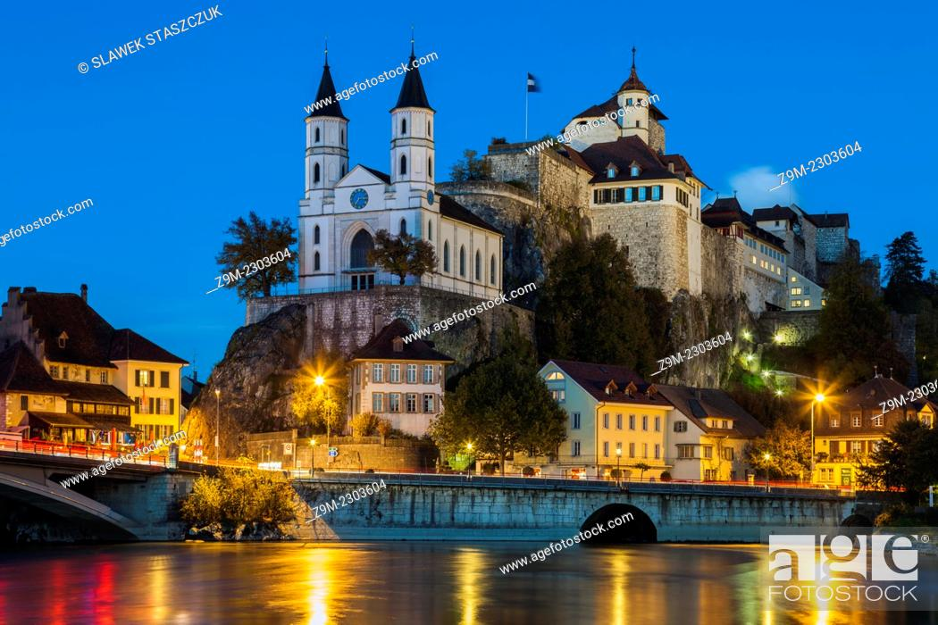 Stock Photo: Evening at Aarburg Castle, canton of Aargau, Switzerland.
