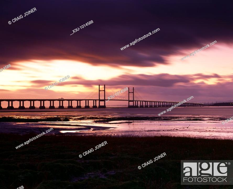Stock Photo: The Second Severn Crossing over the River Severn between England and Wales seen from Redwick in Gloucestershire, United Kingdom.