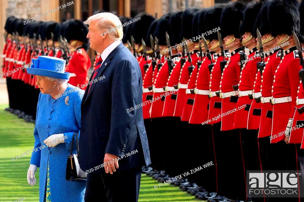 Stock Photo: July 13, 2018 - Windsor, England, United Kingdom - U.S President Donald Trump reviews the Honor Guard with Queen Elizabeth II at Windsor Castle July 13.
