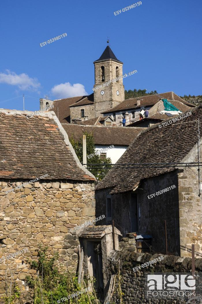 Stock Photo: iglesia de San Martín de Hecho, siglo XIX, valle de Hecho, pirineo aragones, Huesca, Spain.