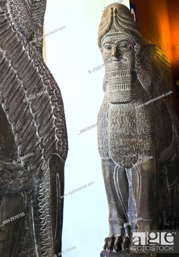 Stock Photo: Five-legged Lamassu, with lion's feet Assyrian gatekeeper beast, Sumerian culture, Mesopotamian art, Pergamon Museum, Museum Island, Berlin, Germany, Europe.