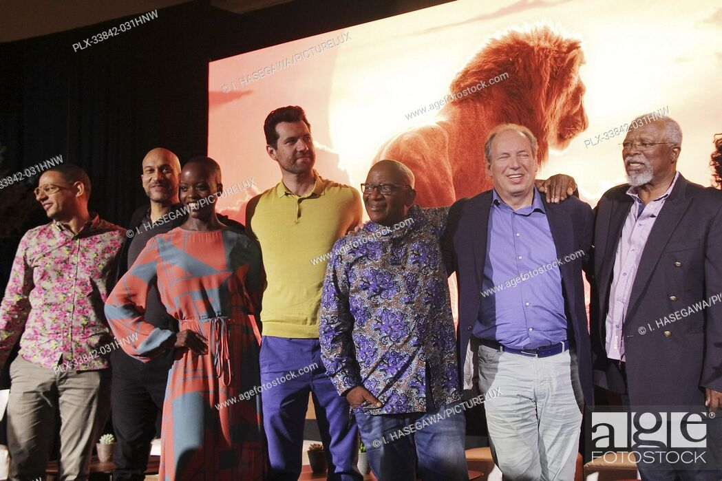 "Stock Photo: Eric Andre, Keegan-Michael Key, Florence Kasumba, Billy Eichner, Lebo M., Hans Zimmer, John Kani 07/10/2019 """"The Lion King"""" Press Conference held at the."
