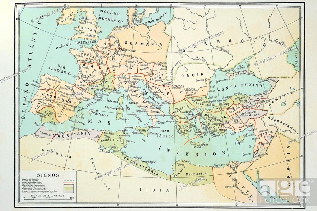 Roman Empire map at the death of Augustus (14 AD), Stock Photo ...