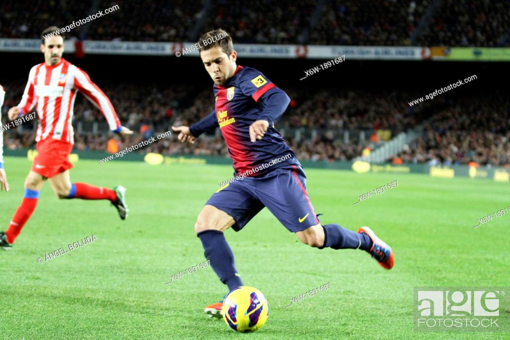 Stock Photo: 16/12/2012, NOU CAMP, BARCELONA  Jordi Alba attempts controls the ball during the match.