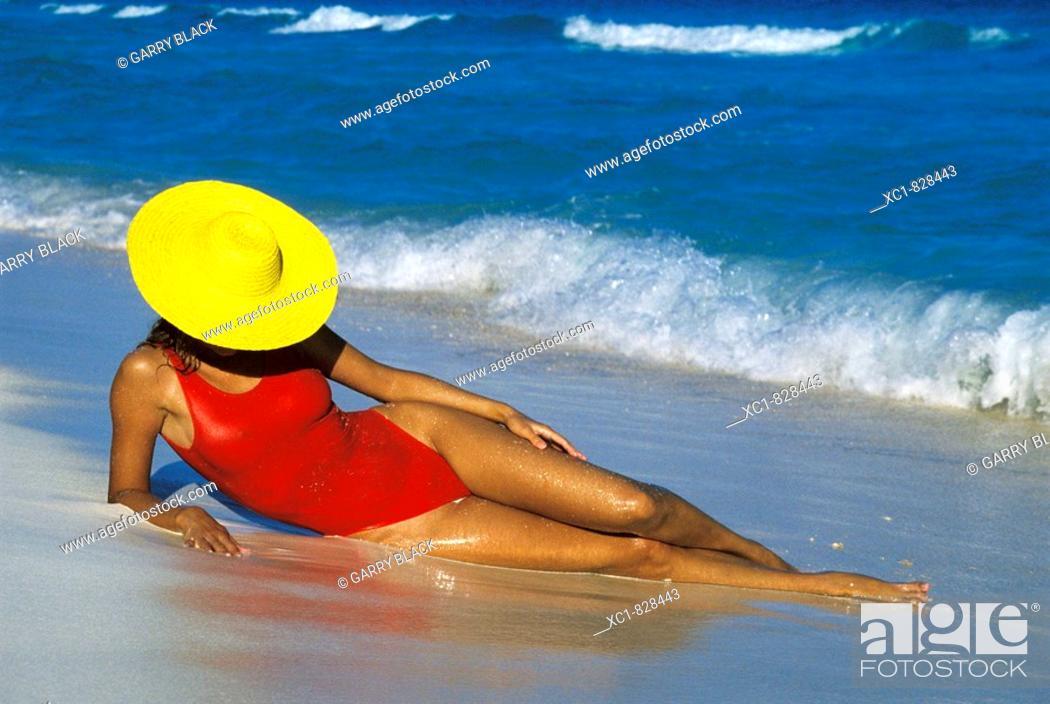 Stock Photo: Woman on Beach, Caribbean Sea, Cancun, Mexico.