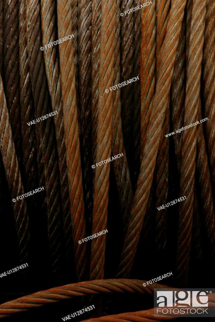 Stock Photo: ropes, dock, industrial, detail, background, close-up.