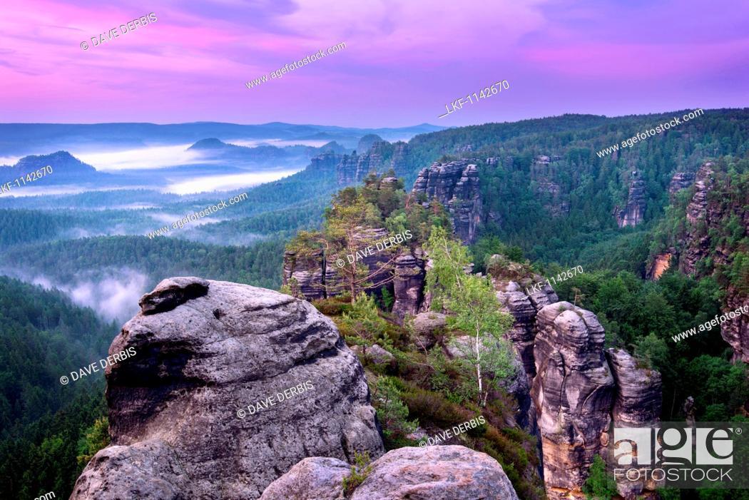 Stock Photo: Sunset, Heringstein, View, Saxon Switzerland, Elbe Sandstone Mountains, Germany, Europe.