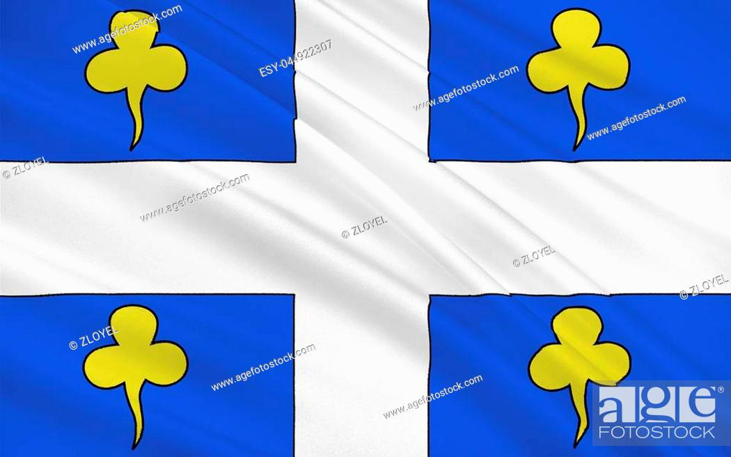 Stock Photo: Flag of Ambert is a commune in the Puy-de-Dome department in Auvergne in central France.