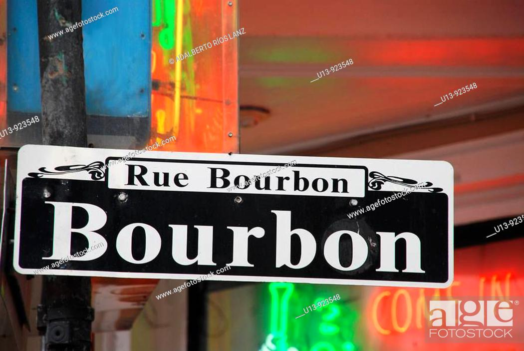 Stock Photo: Bourbon Street Sign, French Quarter, New Orleans, Louisiana, U.S.A., North America.