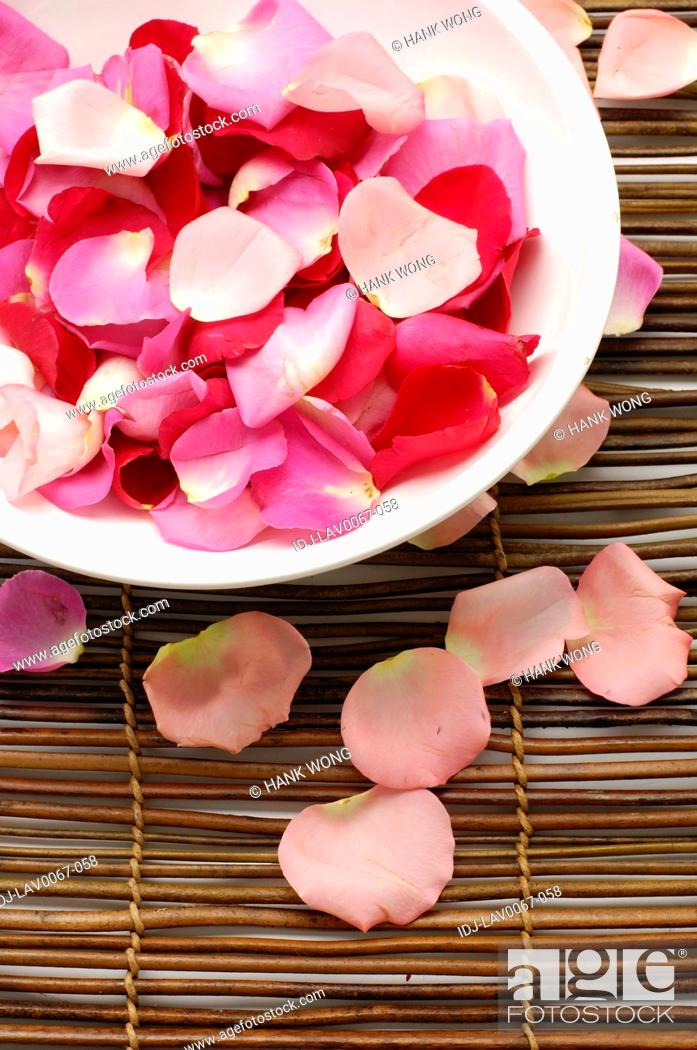 Stock Photo: Rose petals in a bowl.