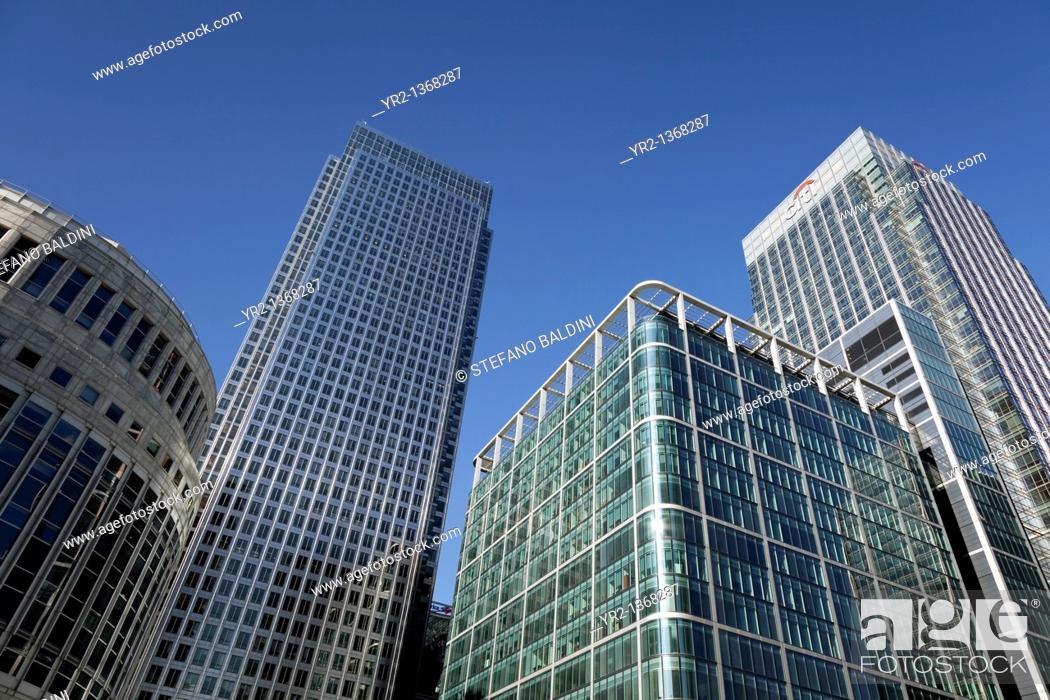 Stock Photo: Canary Wharf buildings, London, UK.
