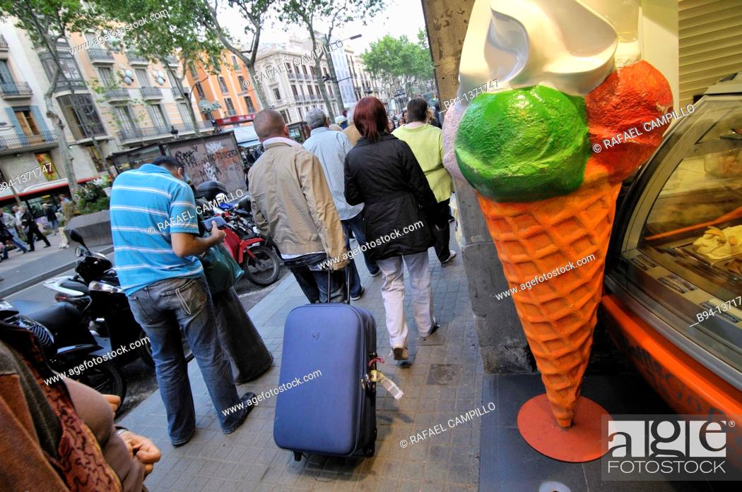 Stock Photo: Ice cream shop, La Rambla, Barcelona, Catalonia, Spain.