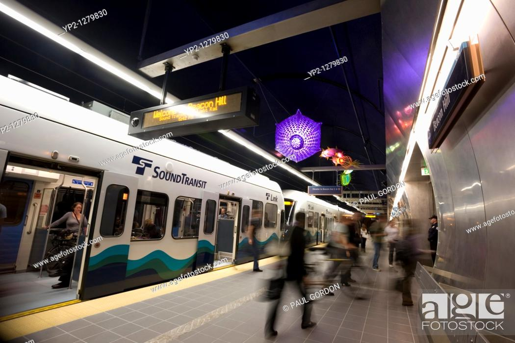 Stock Photo: Passengers at the Beacon Hill Station, Sound Transit's Link Light Rail, Seattle, Washington.