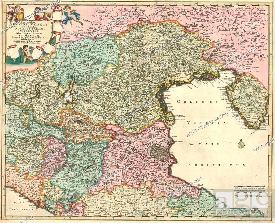 Stock Photo: Map, Accuratissima dominii Veneti in Italia, ducatus Parmae, Placentiae Modenae regii et Mantuae episcopatusq. Tridentini tabula quae est Lombardia Inferior.