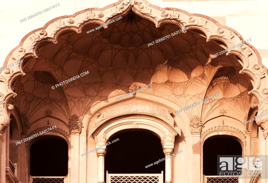 Stock Photo: Low angle view of balconies of a monument, Safdarjung Tomb, New Delhi, India.