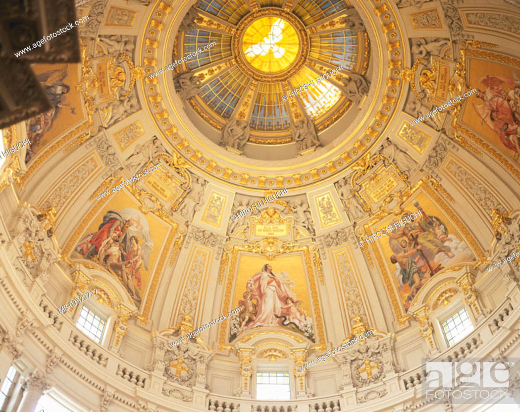 Stock Photo: Germany, Berlin middle, Berlin cathedral,  Dome, interior reception, from below,   Europe, capital, Berlin, bishop church, main church, church, buildings.