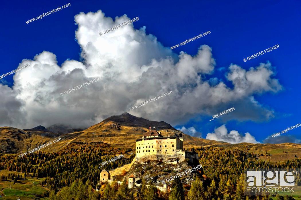 Stock Photo: Tarasp Castle, Scuol, Lower Engadine, Grisons, Switzerland.