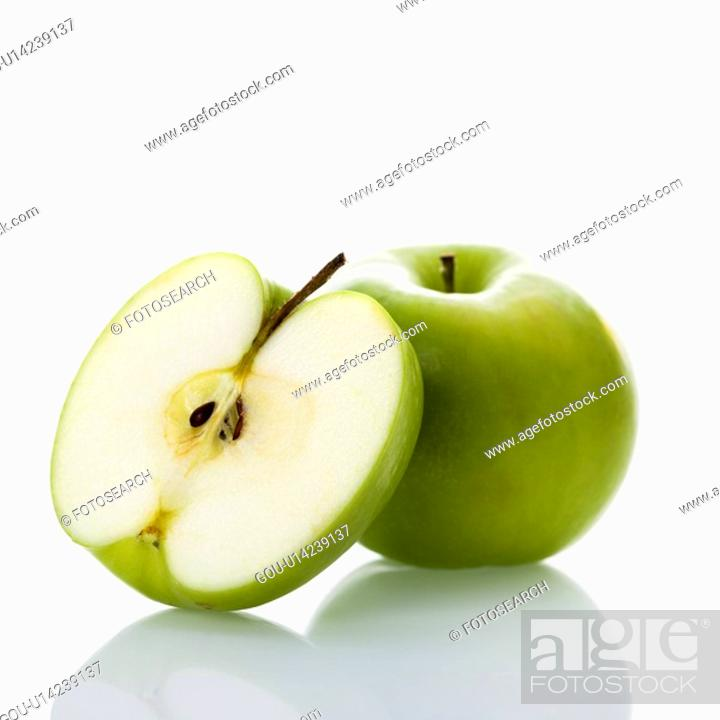 Stock Photo: Still life of green apples on white background.