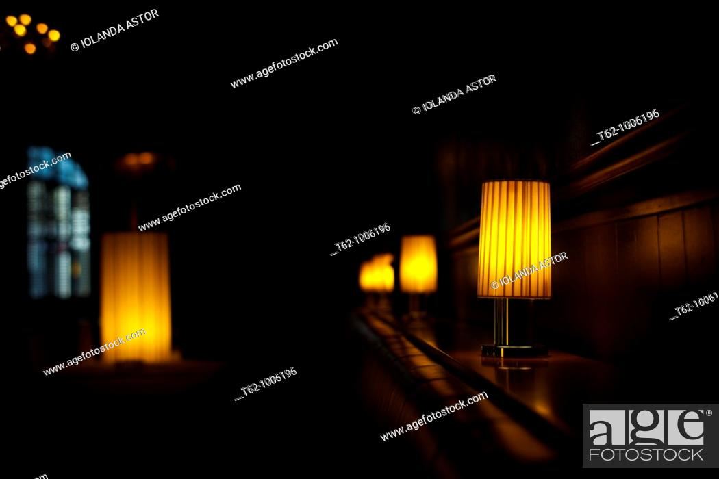 Stock Photo: Lighted lamps inside a room.