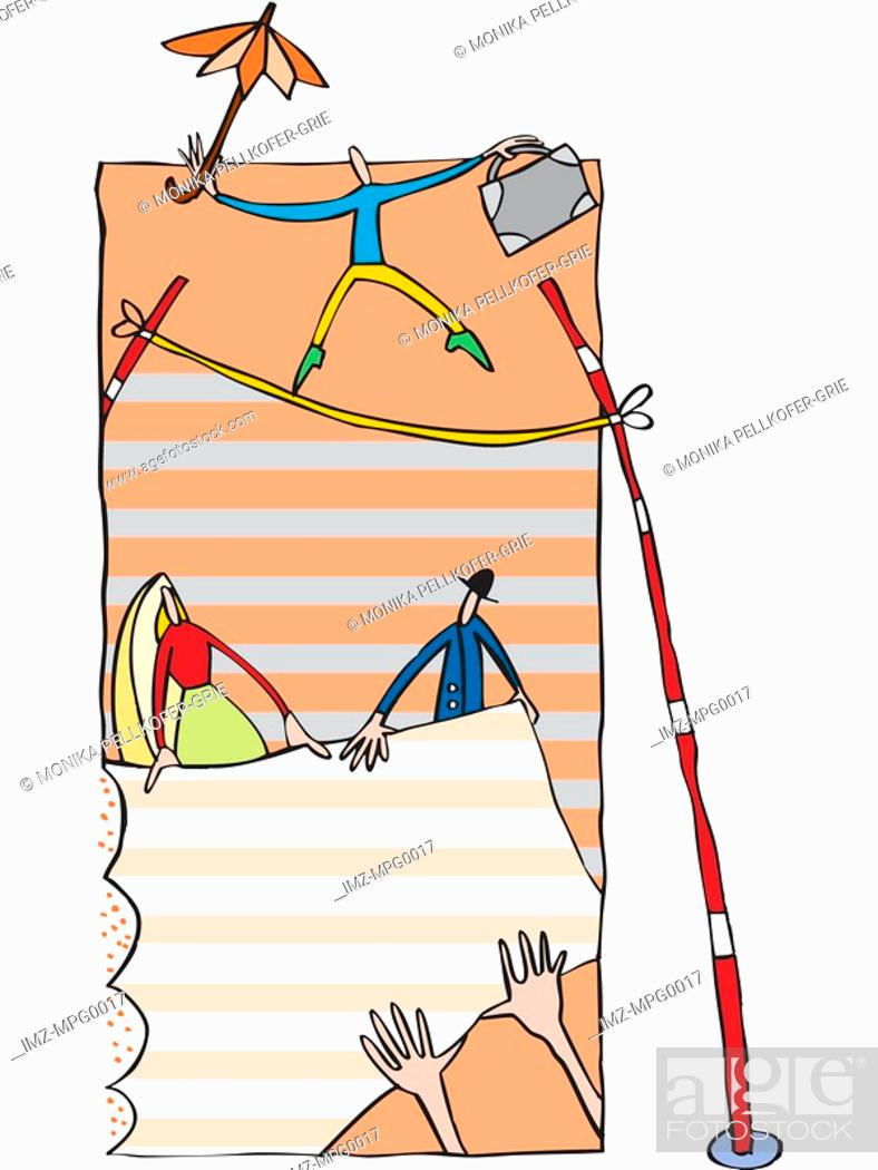 Stock Photo: A businessman balancing on a tightrope while people hold a net below.