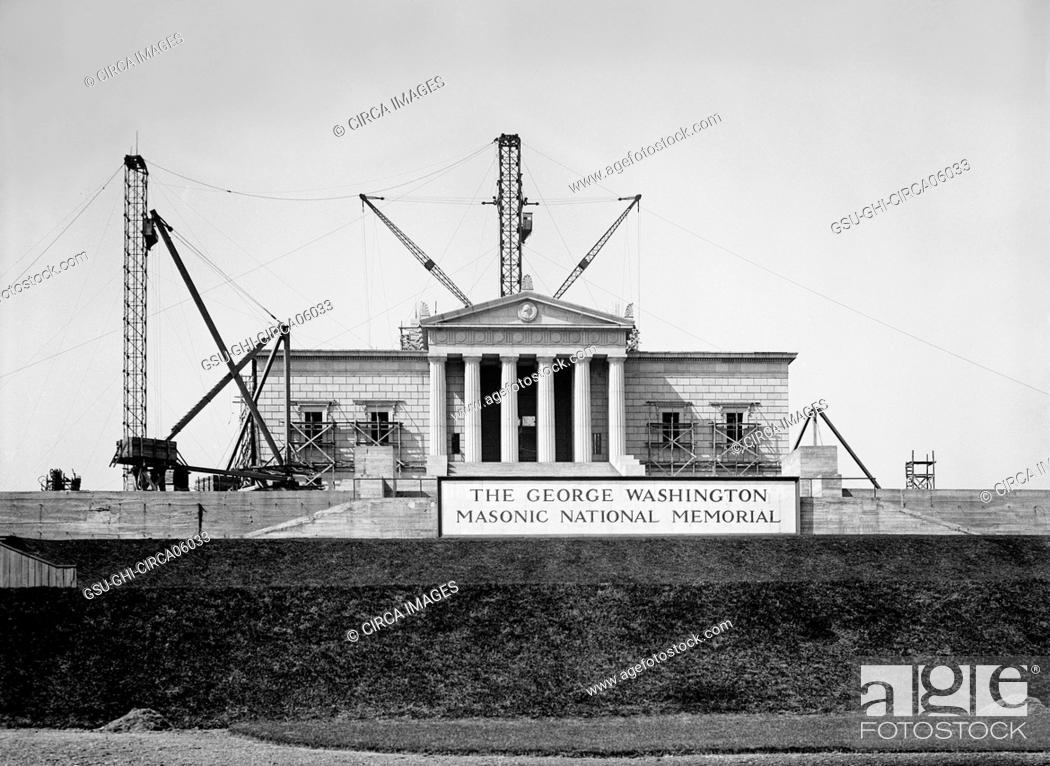 Stock Photo: George Washington Masonic National Memorial under Construction, Alexandria, Virginia, USA, Harris & Ewing, 1925.
