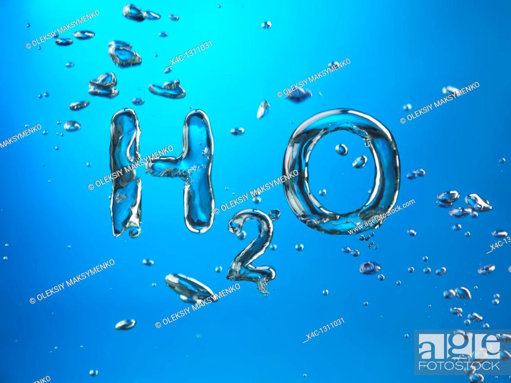 Stock Photo: Formula of Water H2O made by oxygen bubbles, conceptual image.